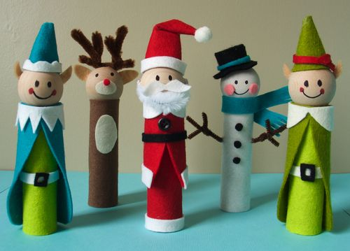 top five christmas craft ideas for kids, santa and friends felt finger puppets