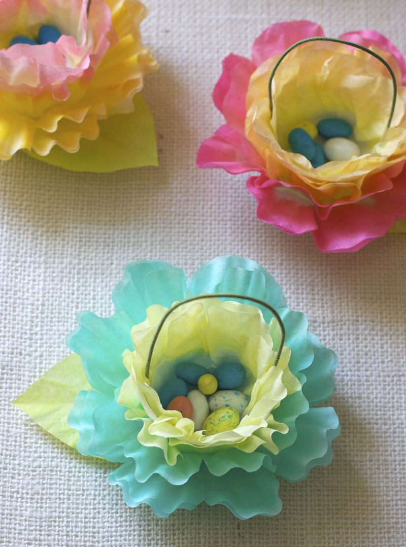 Coffee Filter Flower Carrot Easter Favors Urban Comfort