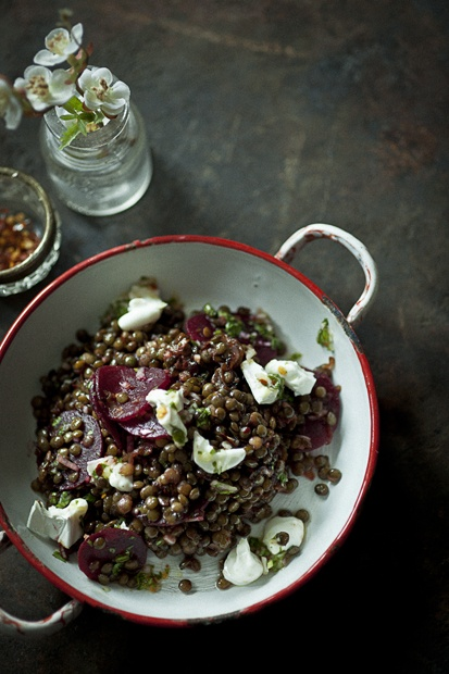 Sweet lentil and goat cheese salad from Baba Gannuj