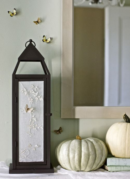 Not-so-spooky Cheesecloth and botanical lantern