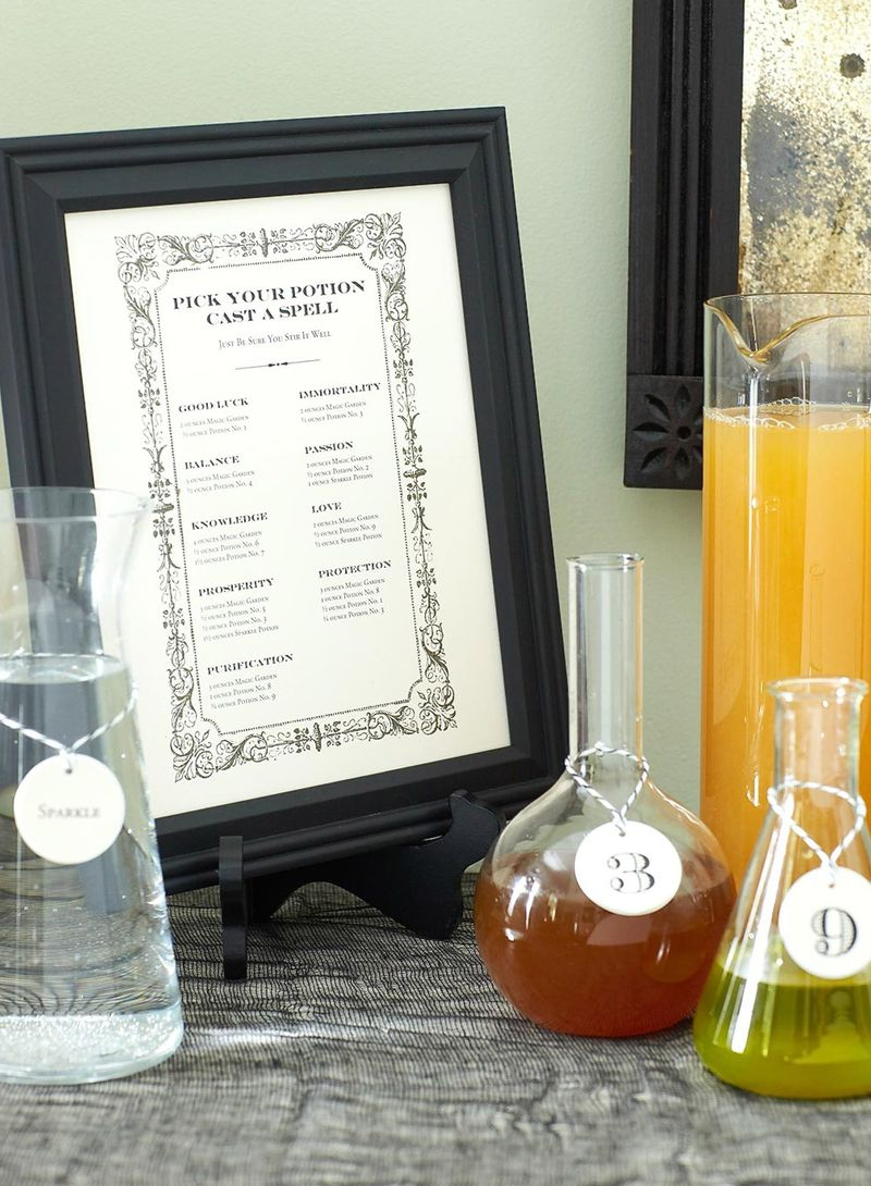 DIY Potion Bar Menu